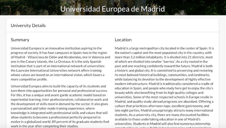 BridgeU Spanish university