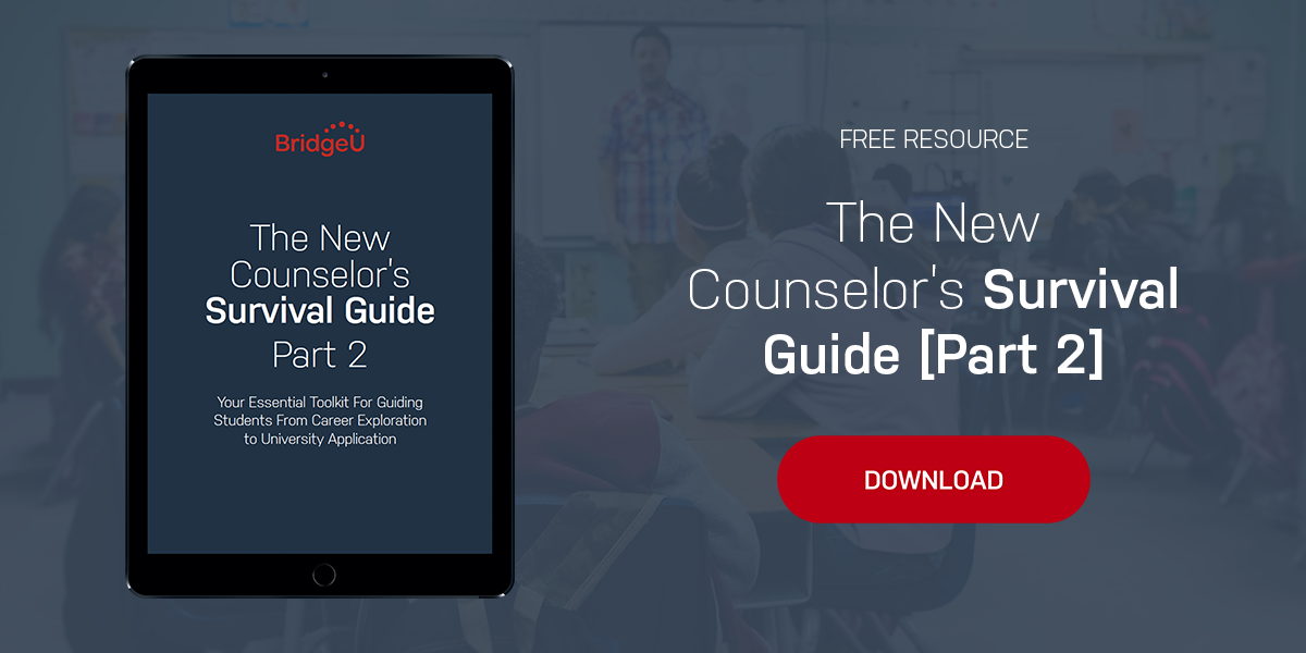image of the BridgeU New Counselor's Guide Part 2 inside an iPad