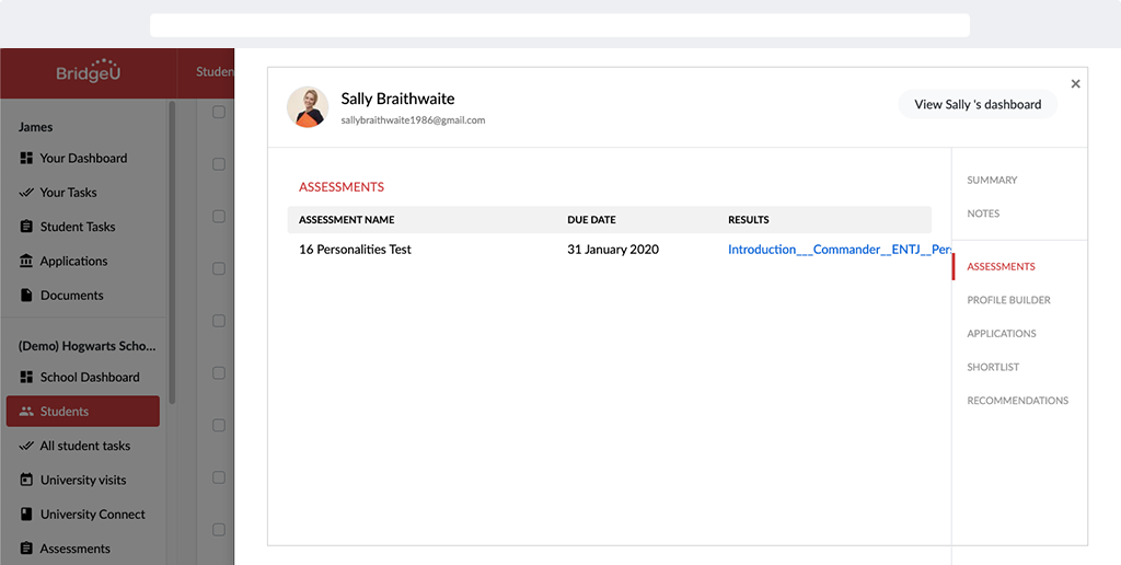 image of the new BridgeU assessments overview