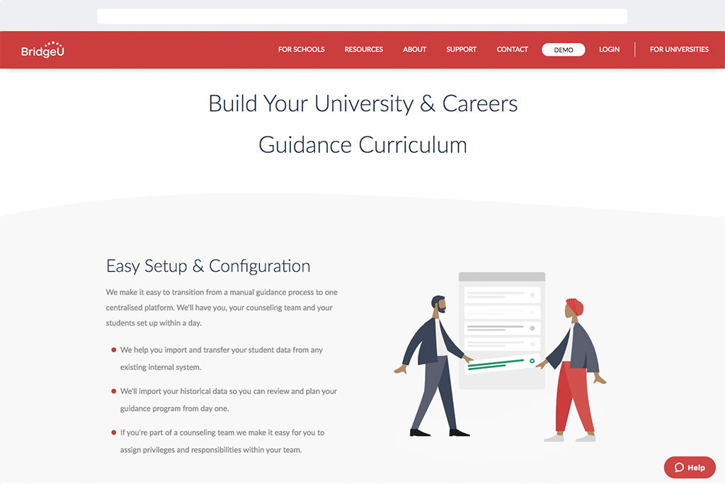 image of the new 'Build Guidance Curriculum' page in the new BridgeU website