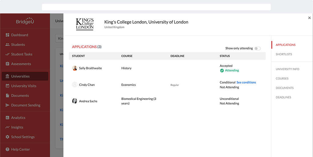university overview showing students' application outcomes