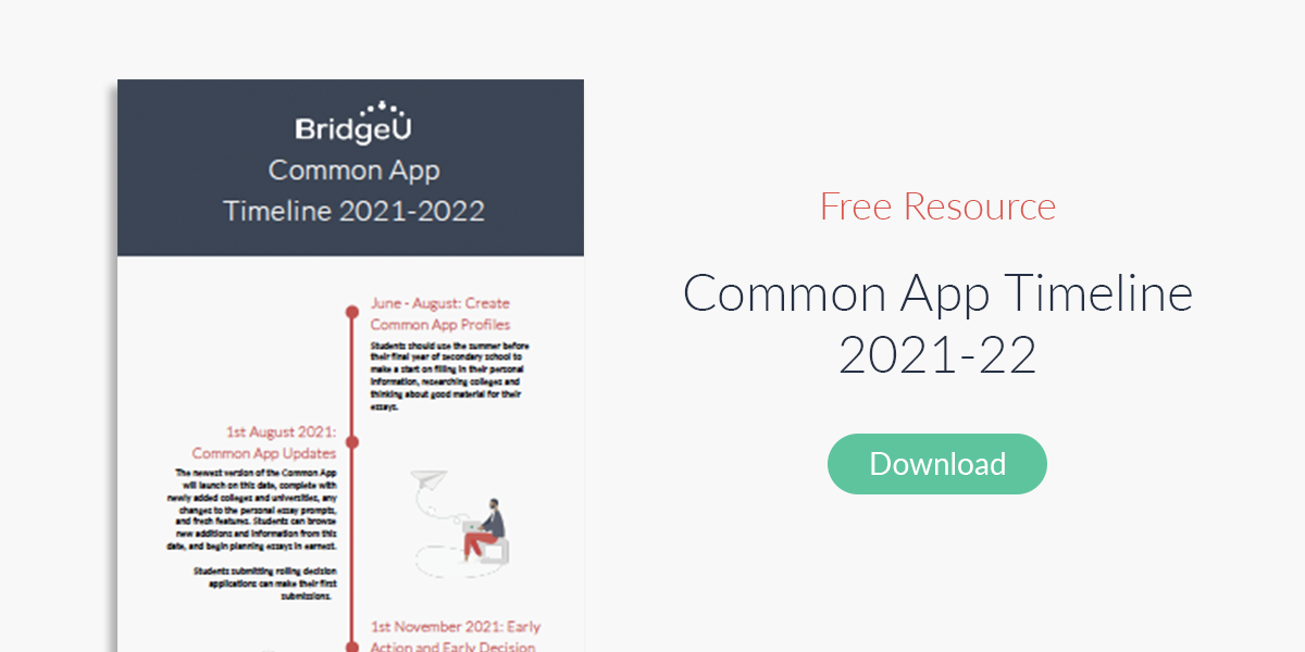 Free Common App Timeline application resource