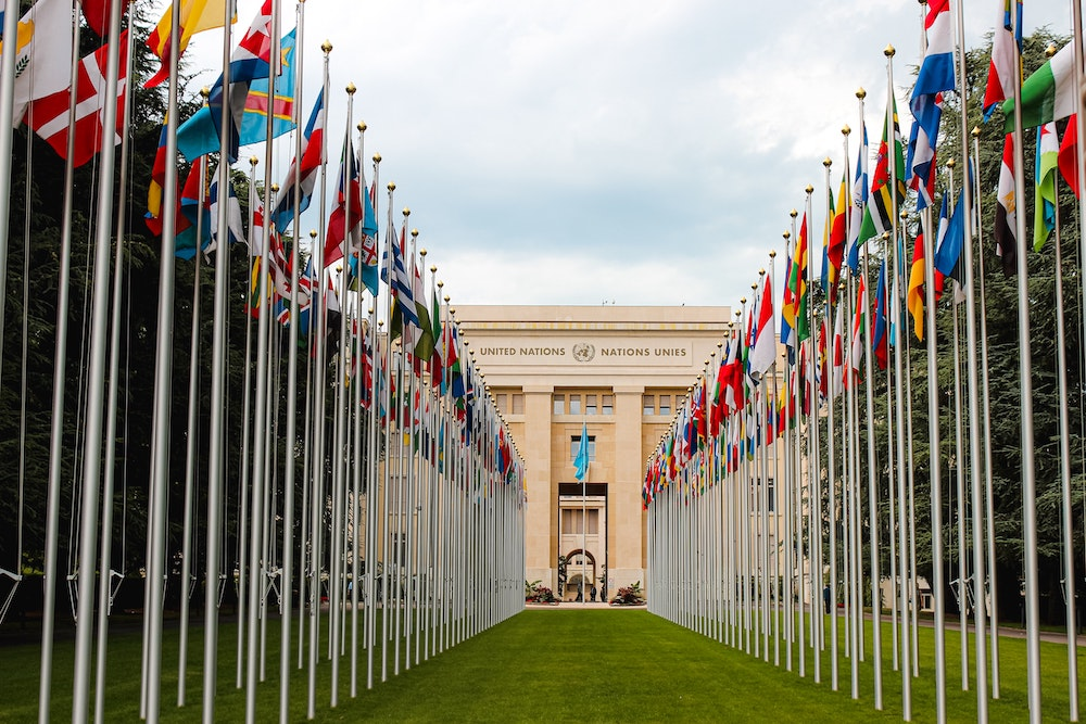 United Nations building with international flags lining the path